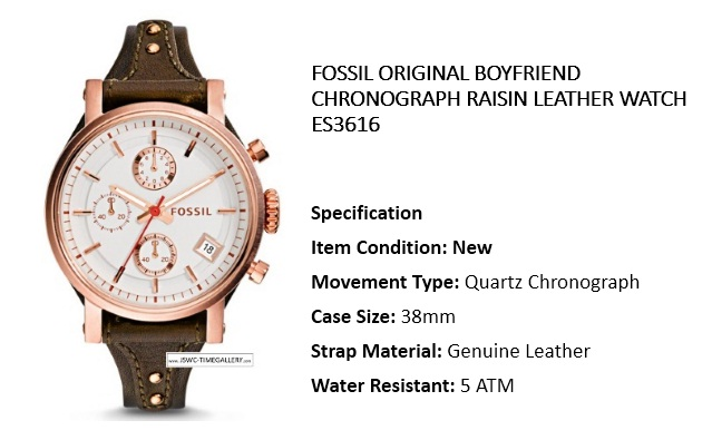 Fossil ORIGINAL BOYFRIEND SPORT CHRONOGRAPH DARK BROWN LEATHER WATCH ES4046